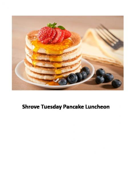 Shrove Tuesday Pancake Luncheon